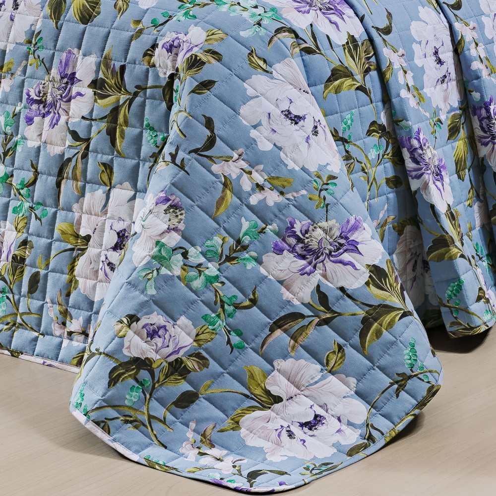 Cobre Leito Queen Estampado 100% Algodão Percal 200 Fios 3 Peças Nobre - Floral Azul