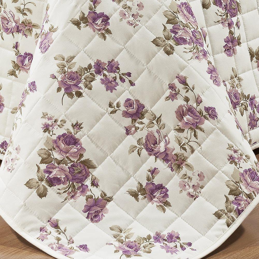 Cobre Leito Queen Estampado 100% Algodão Percal 200 Fios - Nobre 3 Peças Floral Lilás
