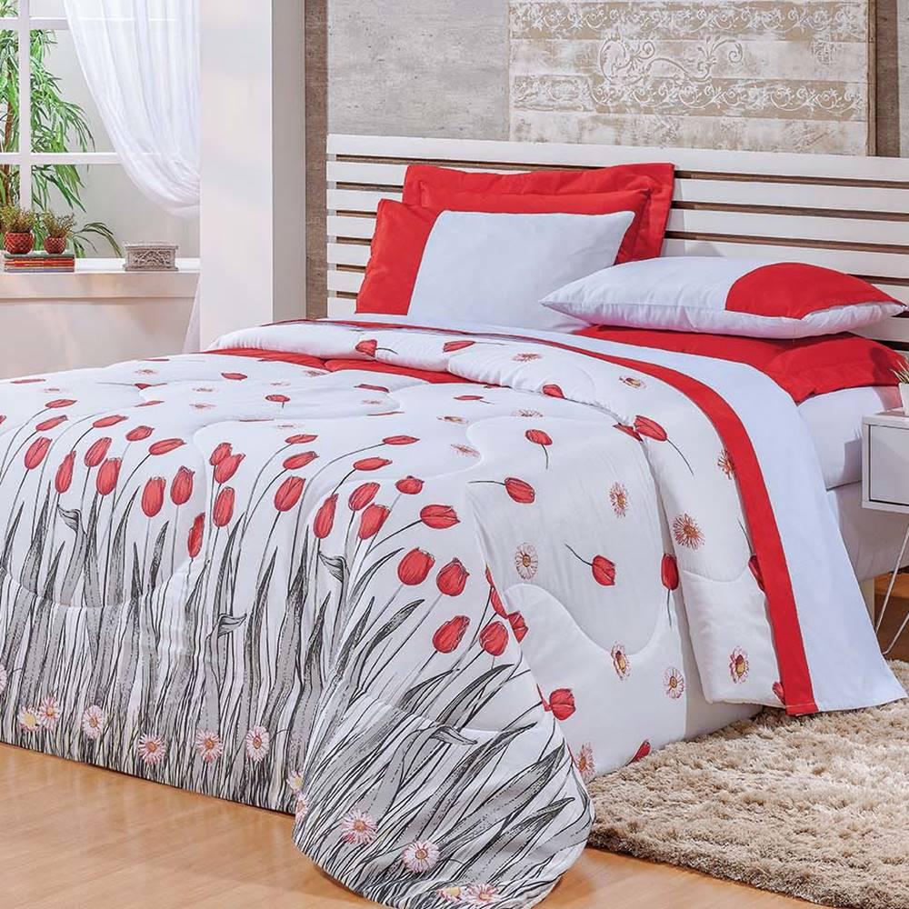 Cobre Leito Queen Estampado 3 peças Fascínio - Floral Vermelho