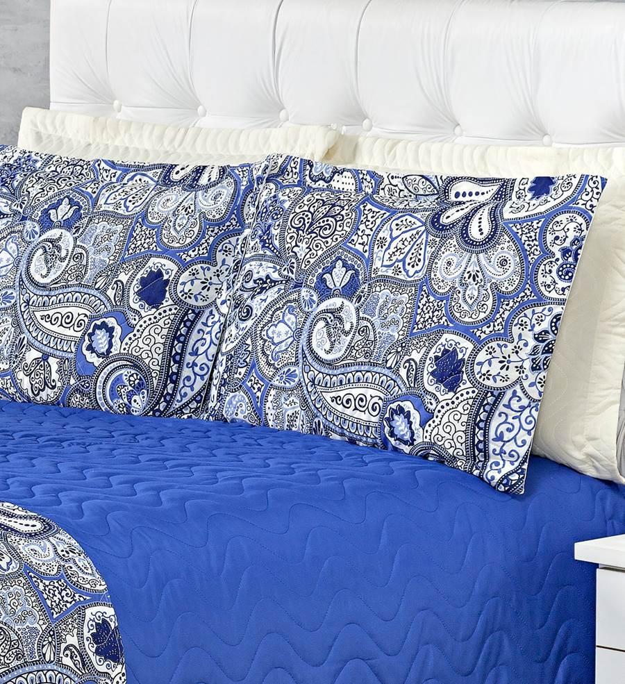 Cobre Leito Queen Matelassê Dijon 4 Peças - Azul