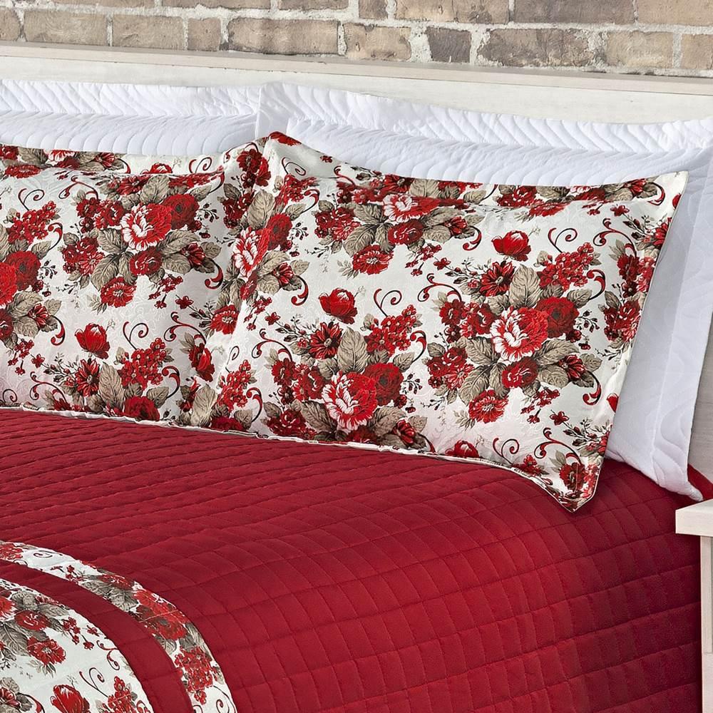 Cobre Leito Queen Matelassê Lazulle 3 Peças - Vermelho
