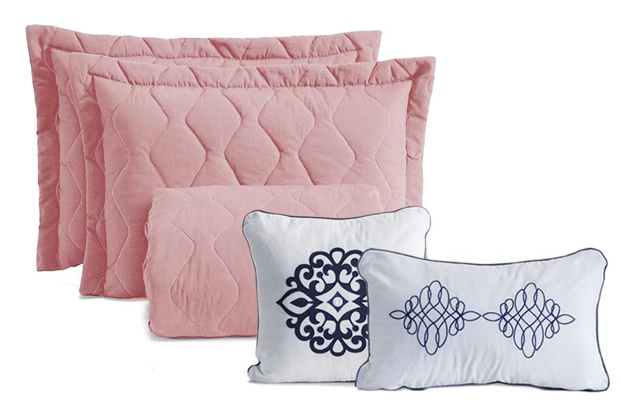 Cobre Leito Queen Portinari Acompanha Almofadas 5 peças - Rosê