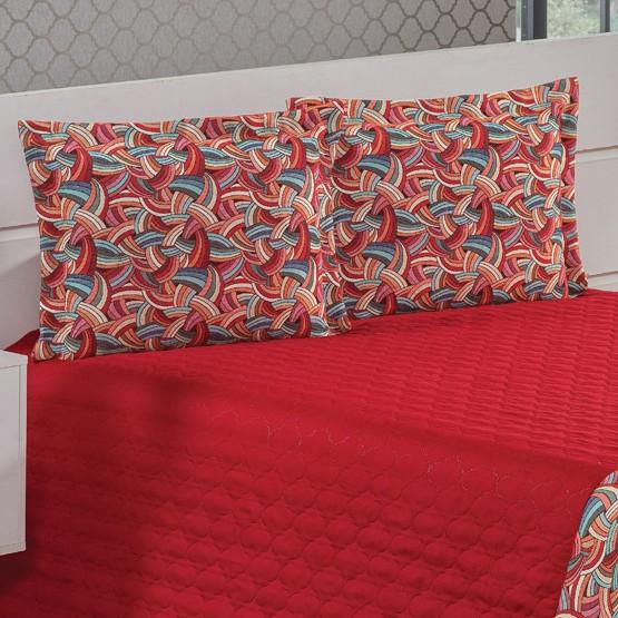 Cobre Leito Queen Santorini 3 peças - Vermelho