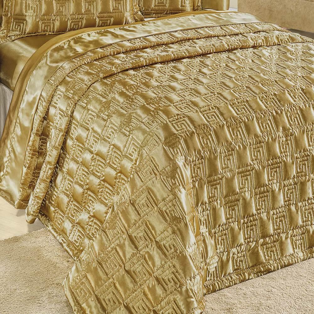 Cobre Leito Queen Size Golden 3 Peças - Dourado