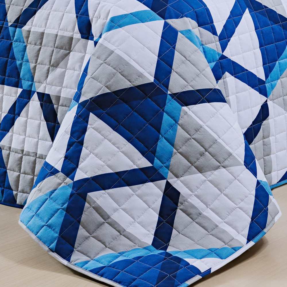 Cobre Leito Solteiro Estampado 100% Algodão Percal 200 Fios 2 Peças Nobre - Azul Geométrico