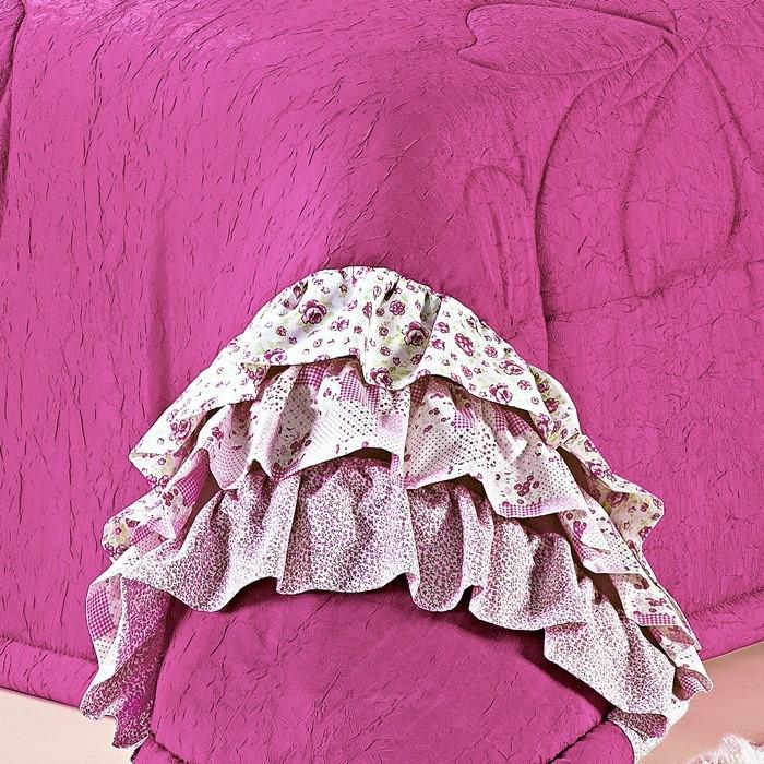 Cobre Leito Solteiro Pink Doçura 4 Peças Sedinha Amassada