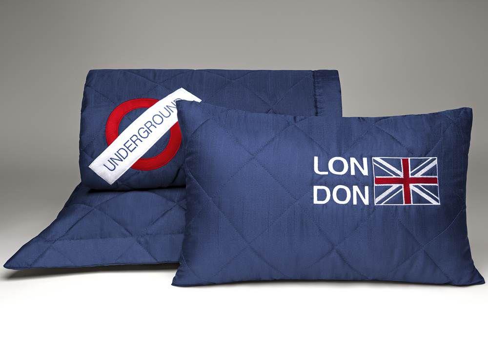 Cobre Leito Solteiro Tecido Capri Matelassado 3 Peças London - Marinho
