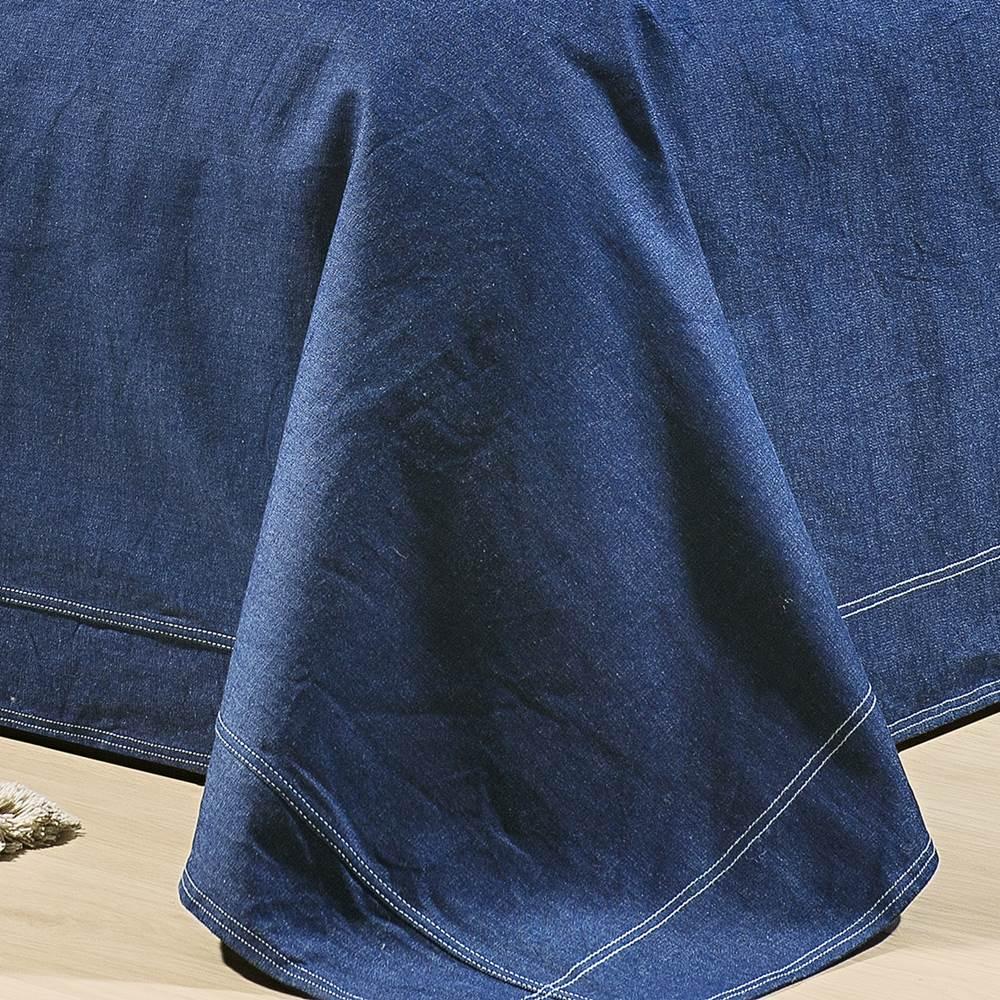 Cobre Leito Solteiro Tecido Jeans 100% Algodão - Indigo 3 Peças