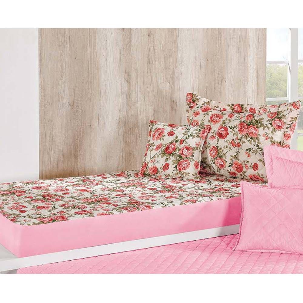 Colcha Bicama Solteiro Estampada com Elástico 3 Peças Pratic - Floral Rosa