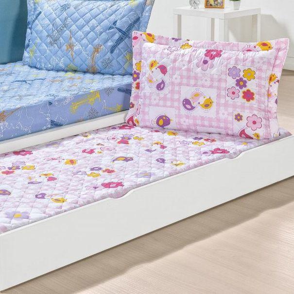 Colcha Bicama Solteiro Estampado com Elástico 2 Peças Kids - Floral Pink