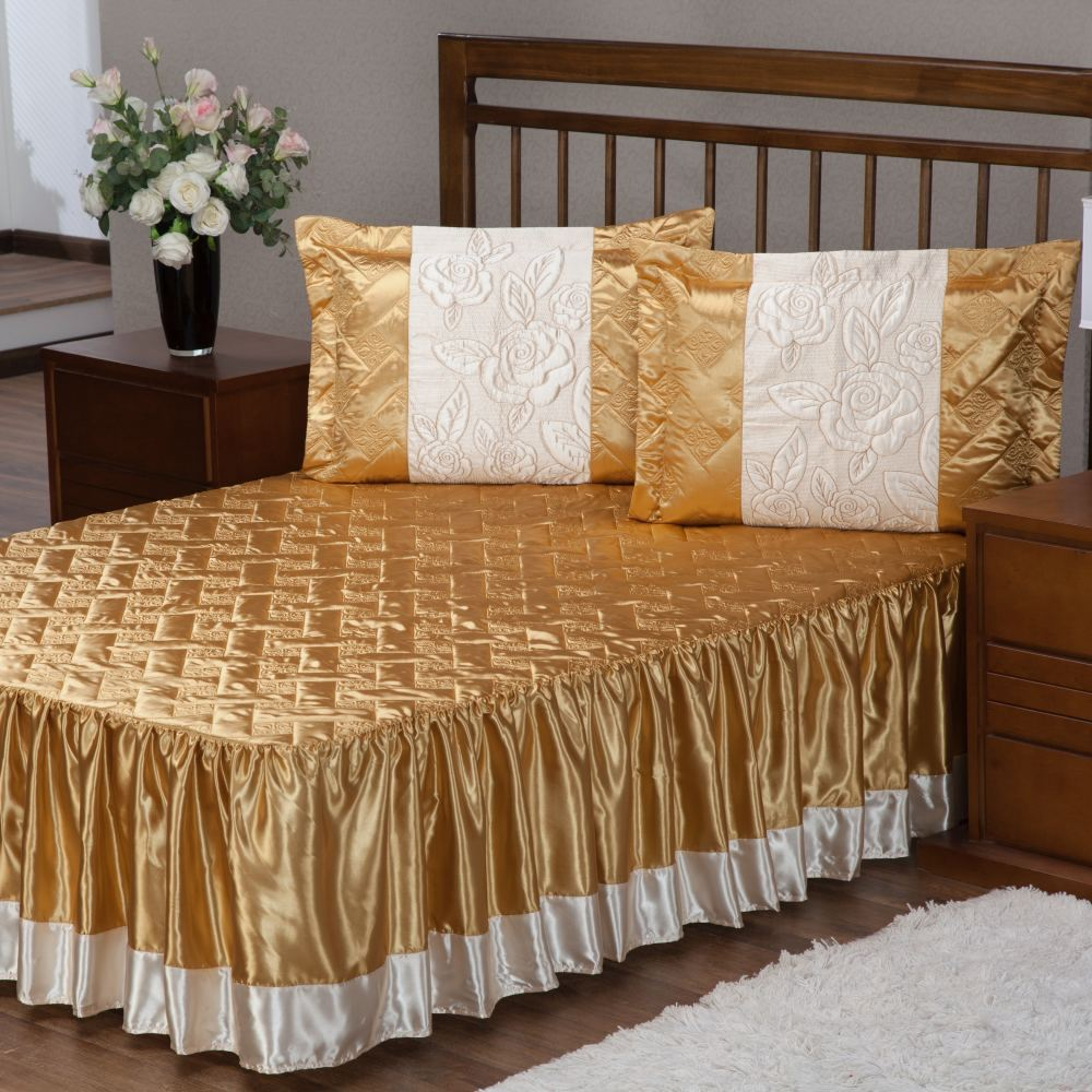 Colcha Casal Cetim com Babado Envolto 3 Peças Rosas - Dourado