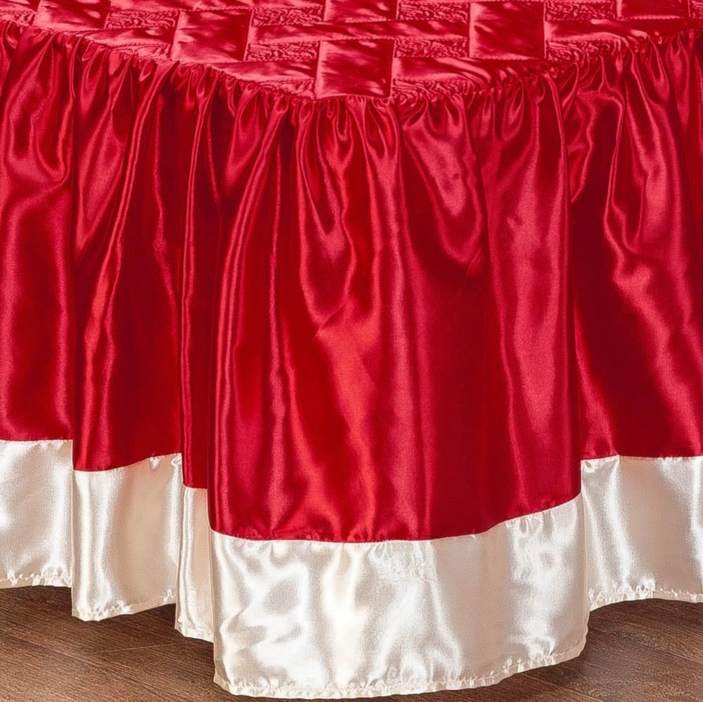 Colcha Casal Cetim com Babado Envolto 3 Peças Rosas - Vermelho