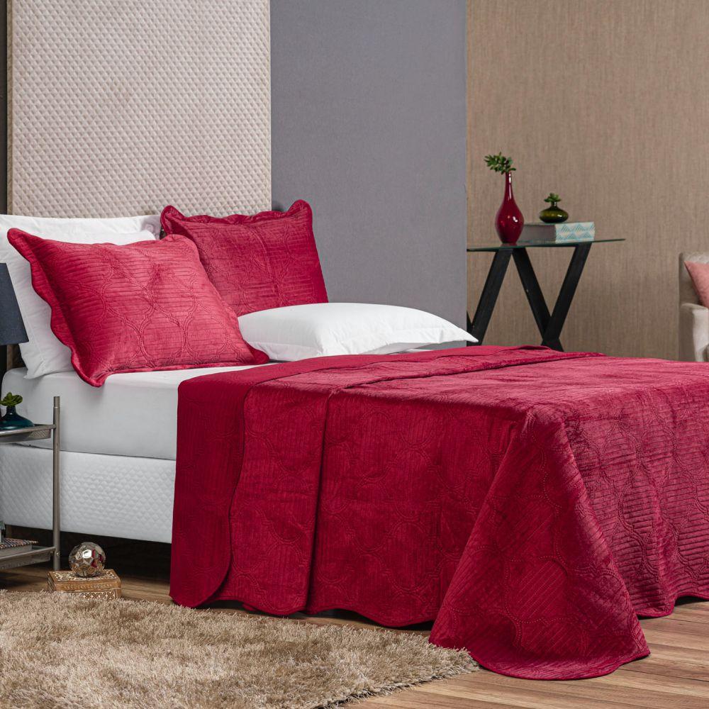 Colcha Casal Velvet Luxus 3 Peças - Vinho