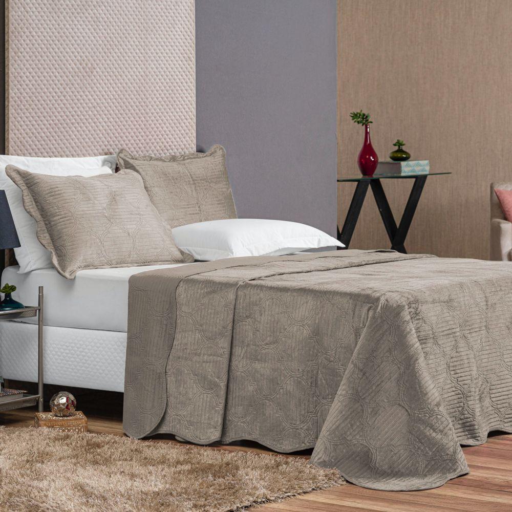 Colcha King Velvet Luxus 3 Peças - Cáqui