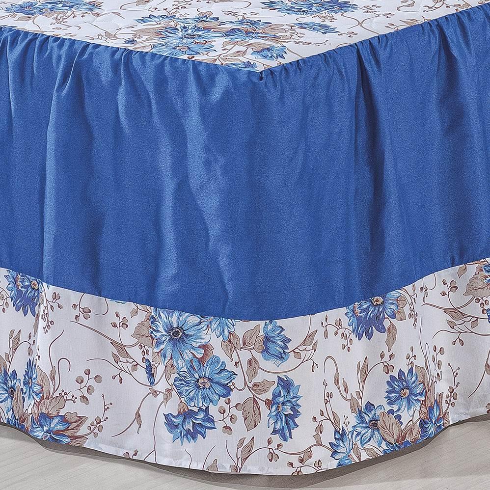 Colcha Noemia Casal Estampada 5 peças - Azul
