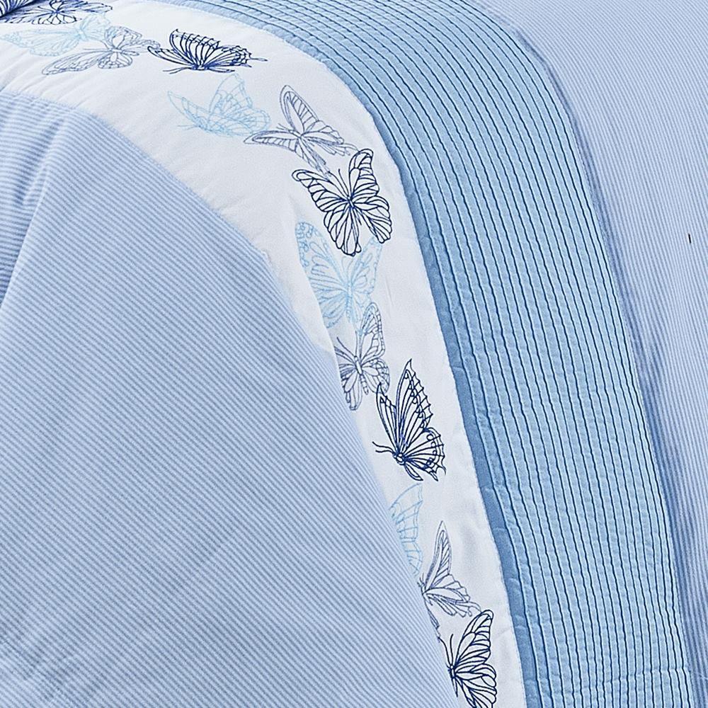 Colcha Queen Algodão Percal 200 Fios - Yandra 6 Peças Azul