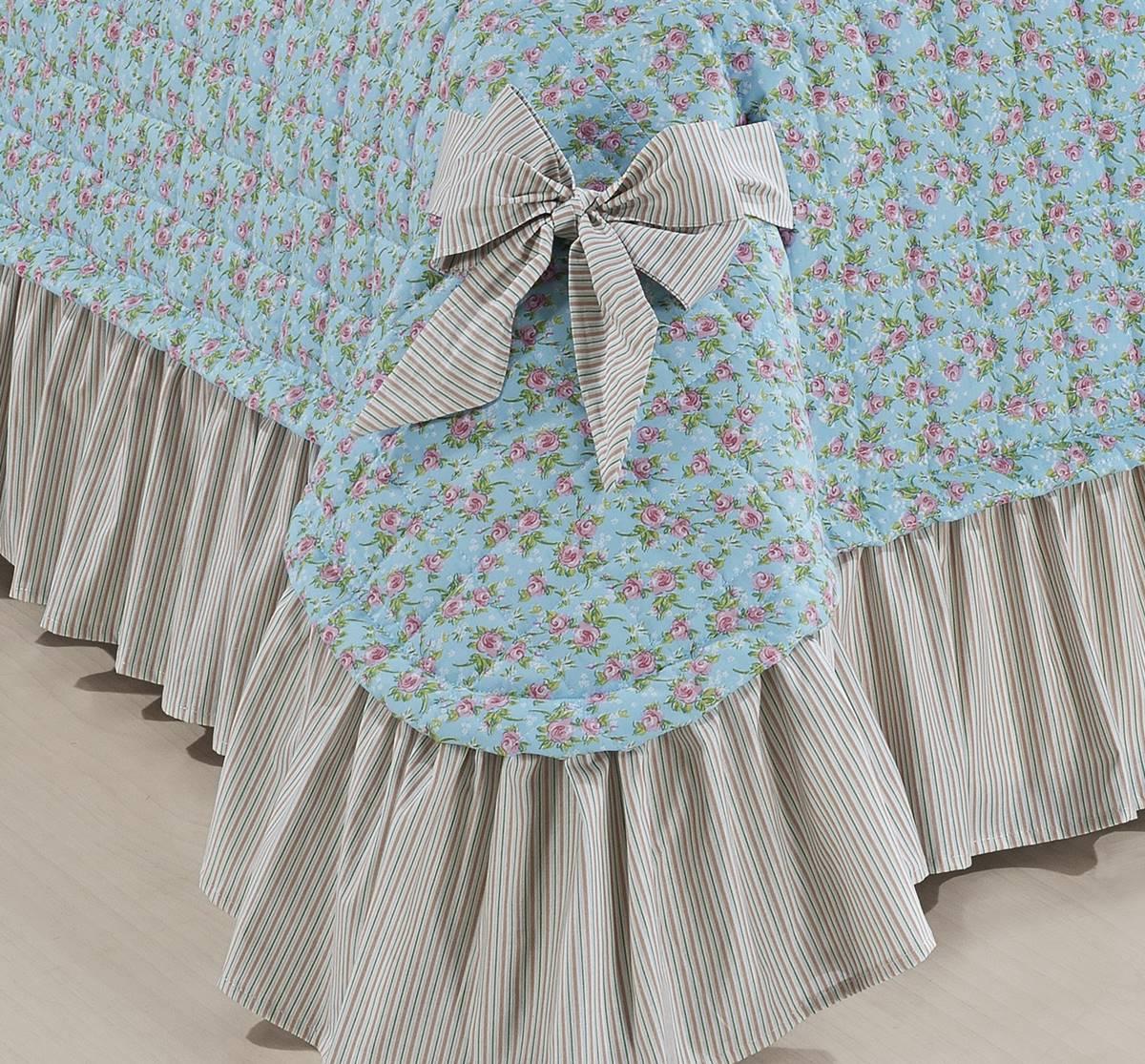 Colcha Queen Doce Lar - Kit 7 Peças - Azul Tiffany