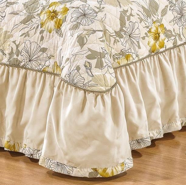 Colcha Queen Dupla Face Estampada 3 peças Viena - Floral Kaki