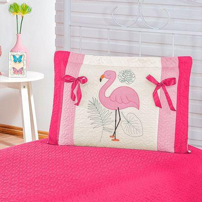Colcha Solteiro Flamingo Matelado Ultrassônico 2 Peças - Pink