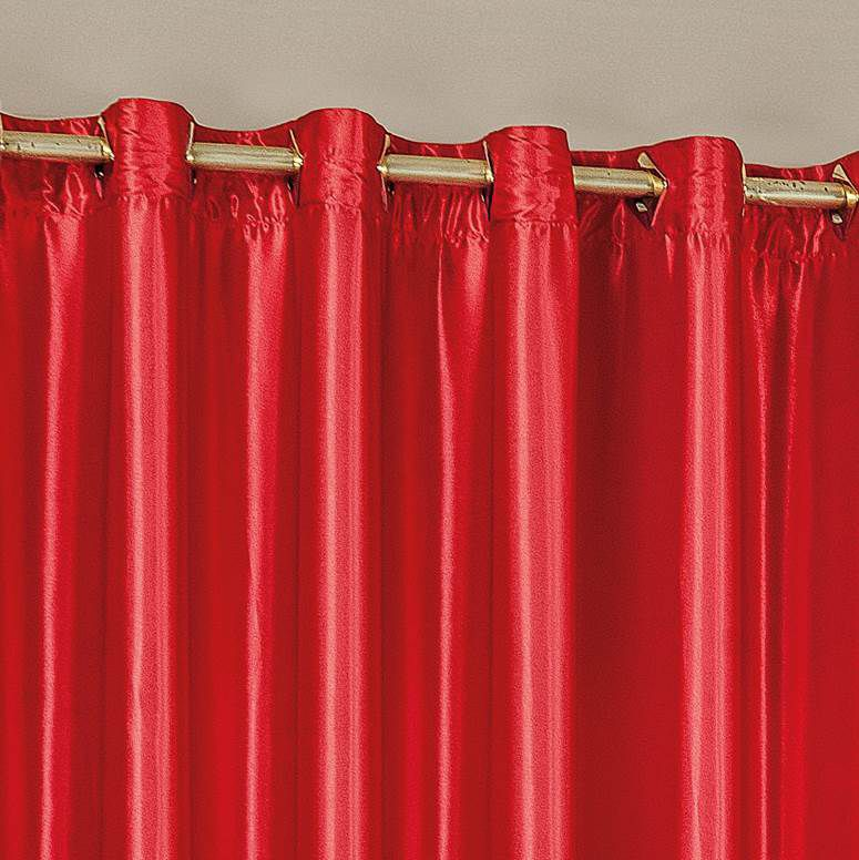 Cortina Áustria Cetim Amassado 2,00m x 1,80m - Vermelho