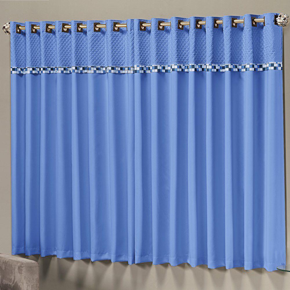Cortina para Varão Simples Thierry 2,00m X 1,70m - Azul