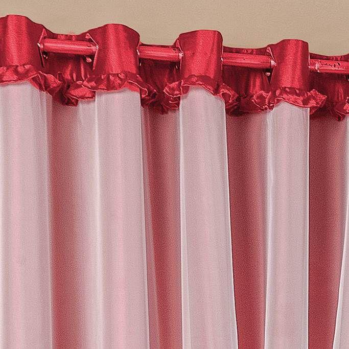 Cortina Poeme Cetim Amassado 2,00m x 1,80m - Vermelho