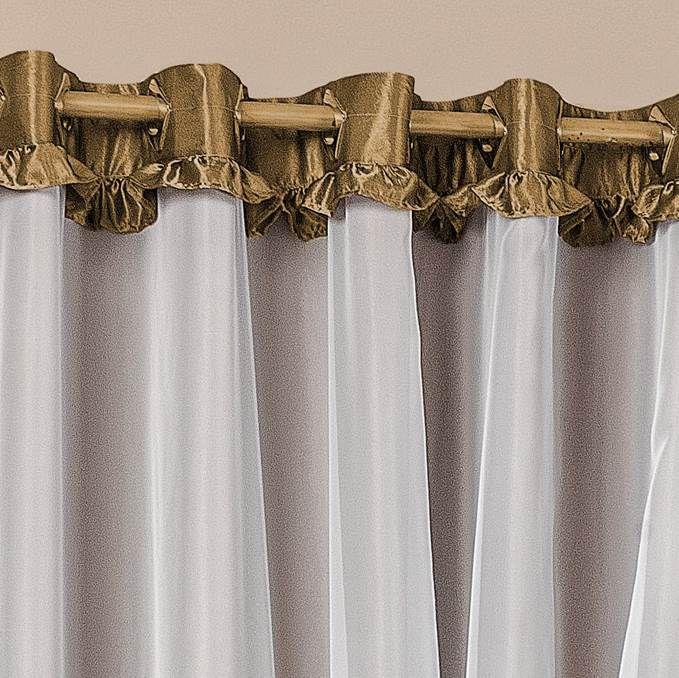 Cortina Poeme Cetim Amassado 3,00m x 2,60m - Dourado