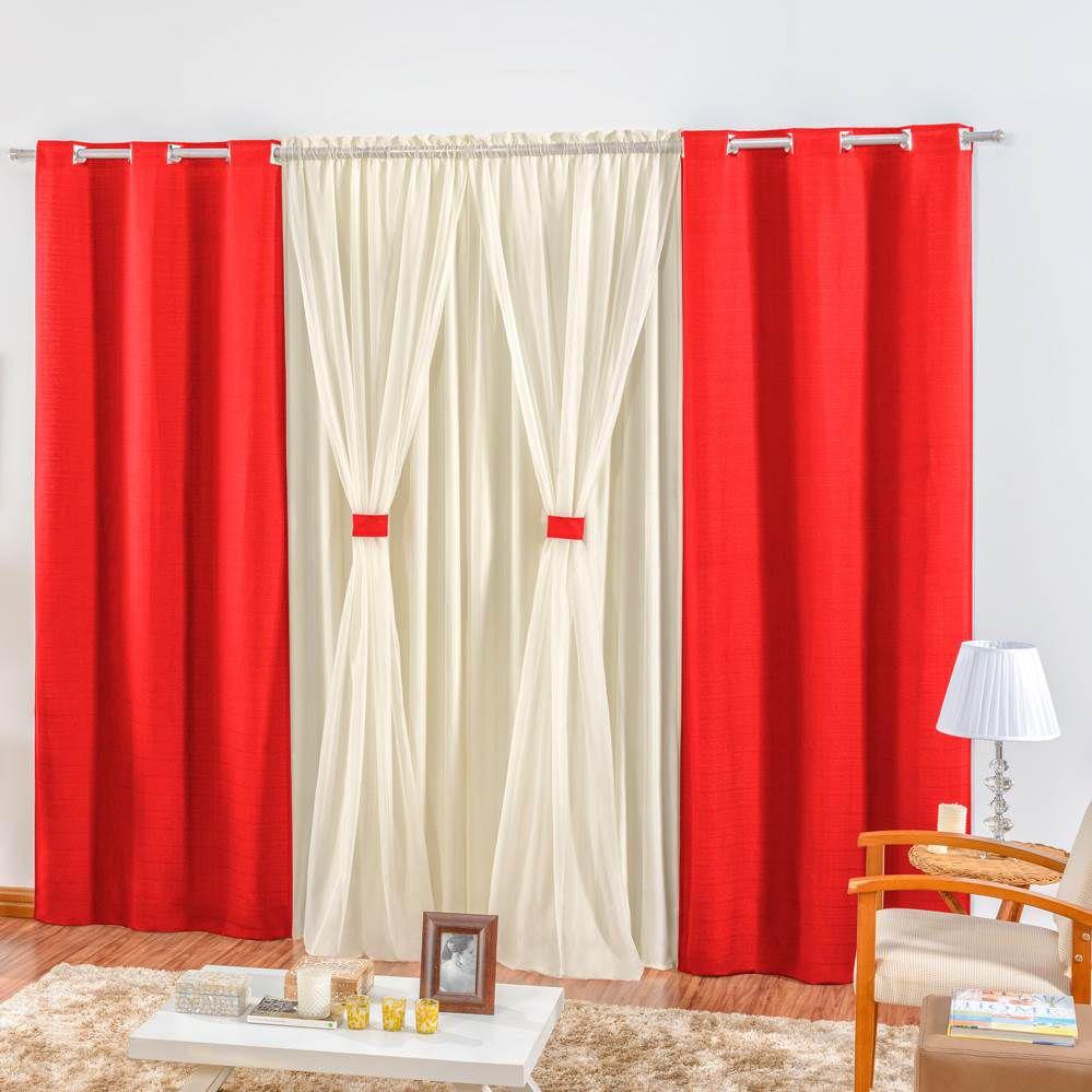 Cortina Rústica 3,00m x 2,50m - Vermelho