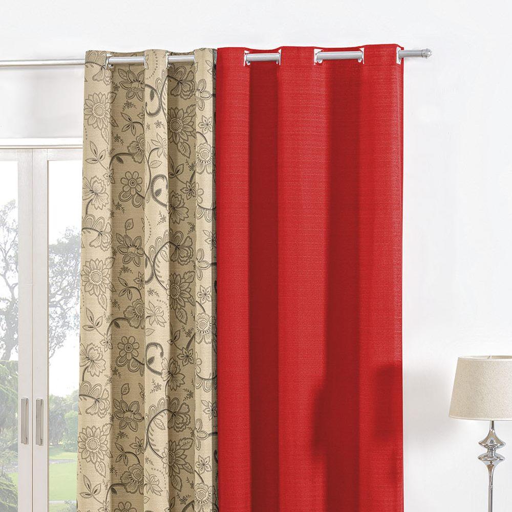 Cortina Rústica Dublin 2,40m x 1,70m - Vermelho