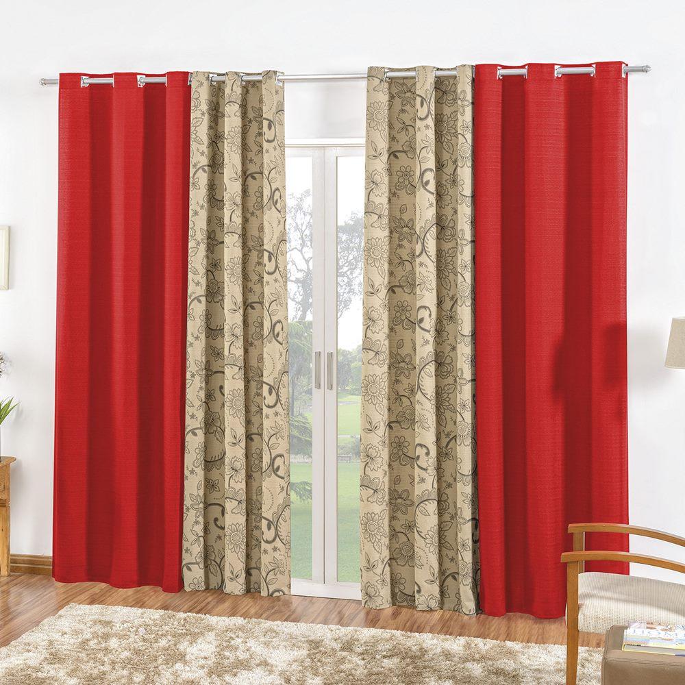 Cortina Rústica Dublin 4,10m x 2,50m - Vermelho