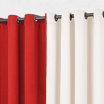Cortina Yasmin 2,00m x 1,60m Malha Gel - Vermelho/Palha