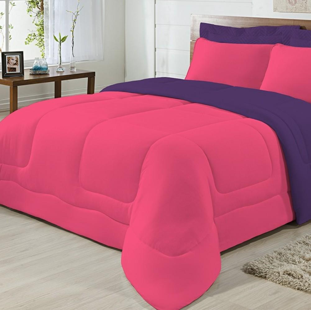 Edredom Casal Dupla Face Malha 100% Algodão 1 peça - Roxo/Pink