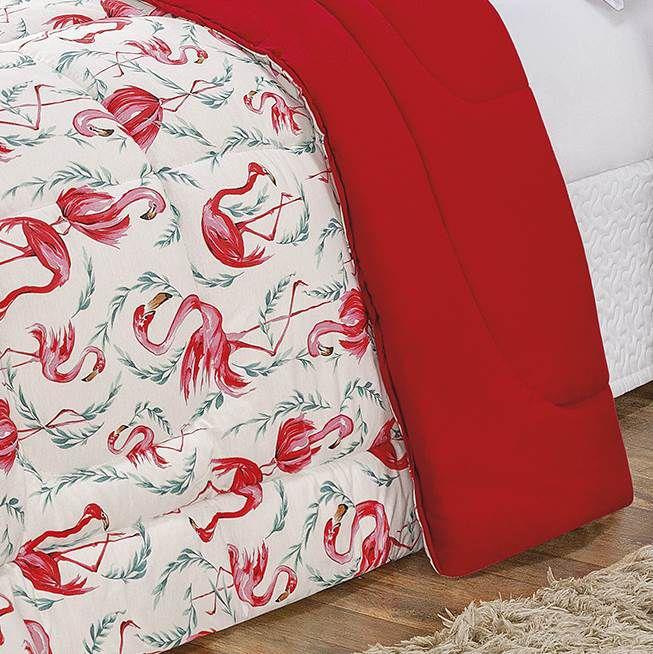 Edredom Casal Dupla Face Malha Penteada 100% Algodão 1 Peça - Flamingo