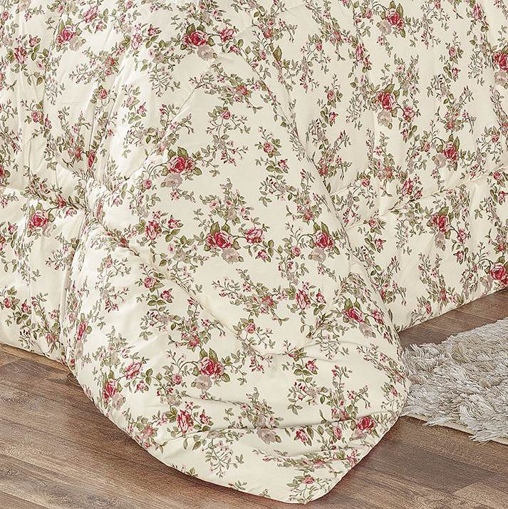 Edredom Casal Estampado Dupla Face 3 peças Naturalle - Floral Rosa