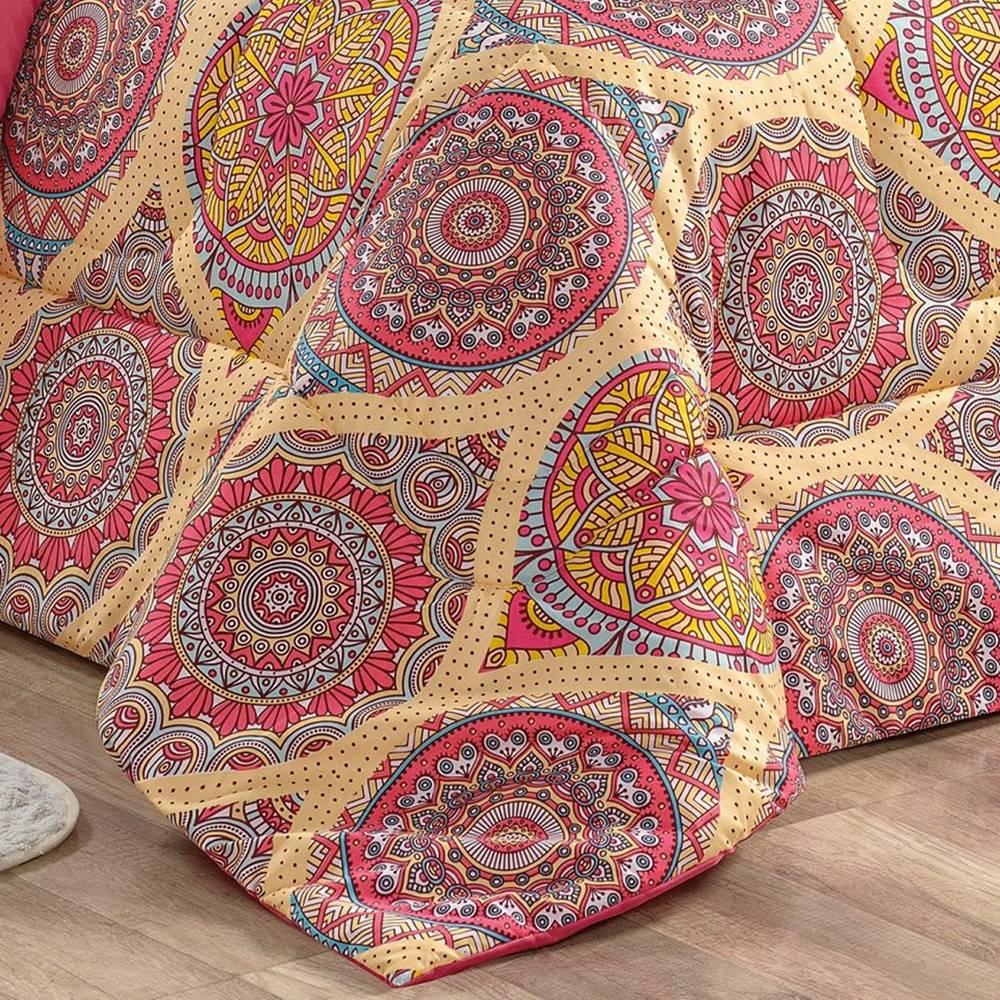 Edredom King 200 Fios Estampado Dupla Face 3 peças Naturalle - Mandala