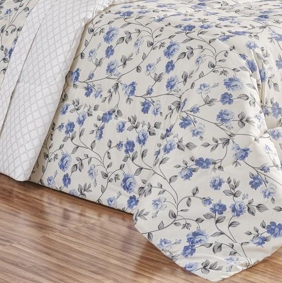 Edredom Queen Dupla Face 180 Fios Requinte 3 Peças - Floral Azul