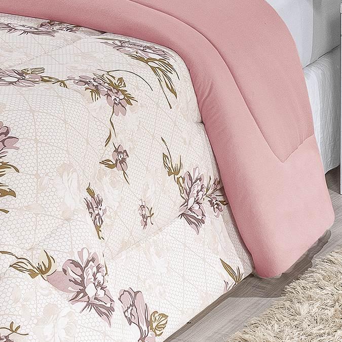 Edredom Queen Dupla Face Malha Penteada 100% Algodão 1 Peça - Floral Rosê
