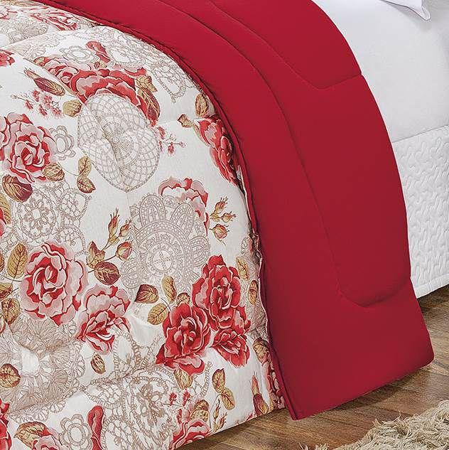 Edredom Queen Dupla Face Malha Penteada 100% Algodão 1 Peça - Floral Vermelho