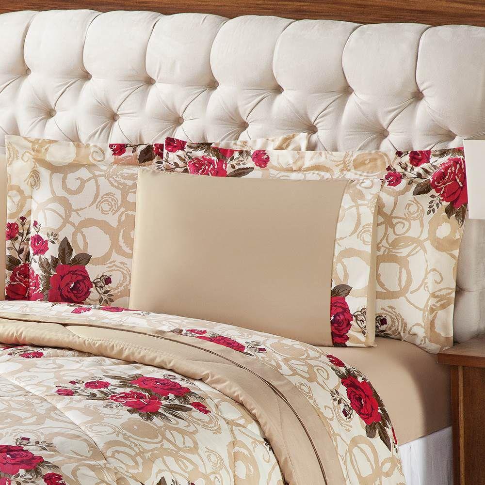 Edredom Queen Estampado Murano 3 Peças - Floral Vermelho