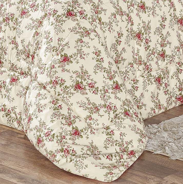 Edredom Queen Estampado Dupla Face 3 peças Naturalle - Floral Rosa