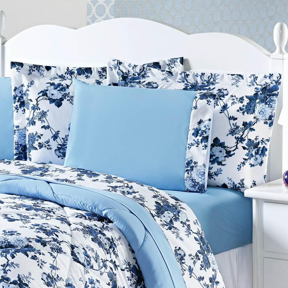 Edredom Queen Estampado Murano 3 Peças - Floral Azul