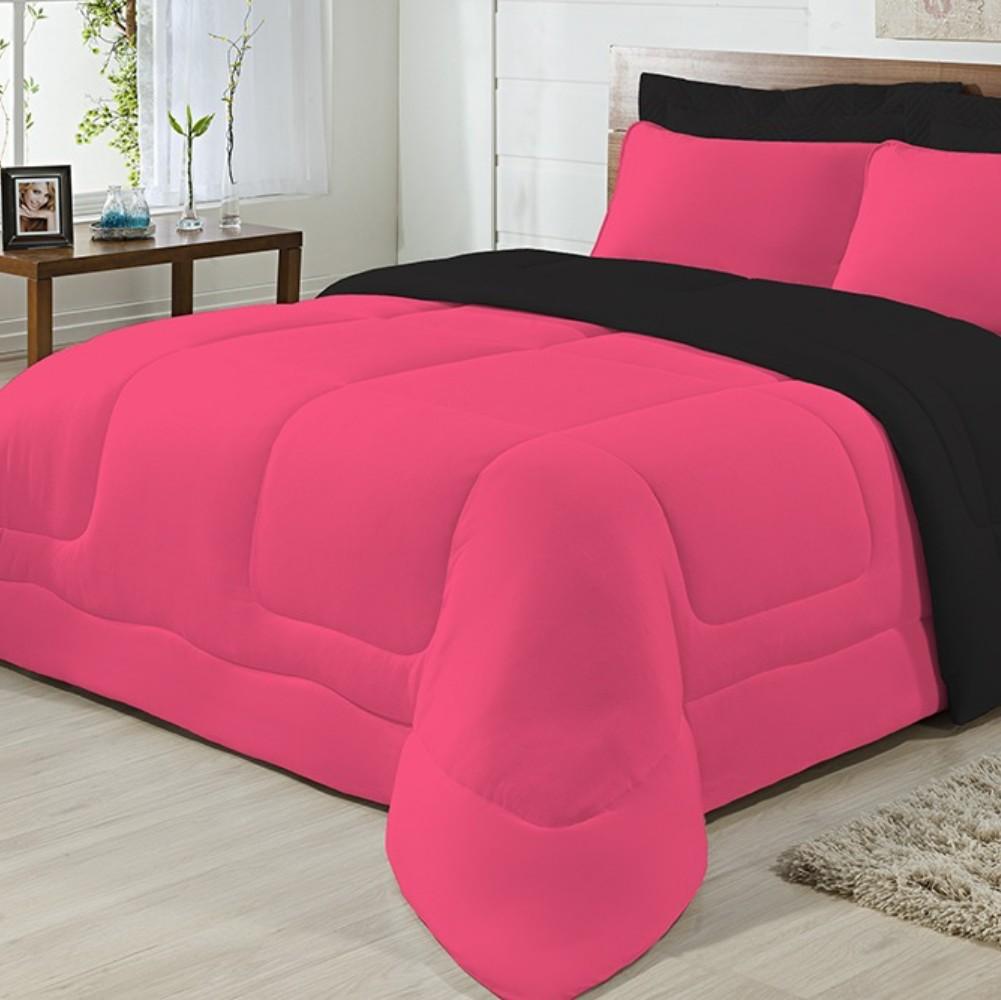 Edredom Solteiro Dupla Face Malha 100% Algodão 1 peça - Preto/Pink