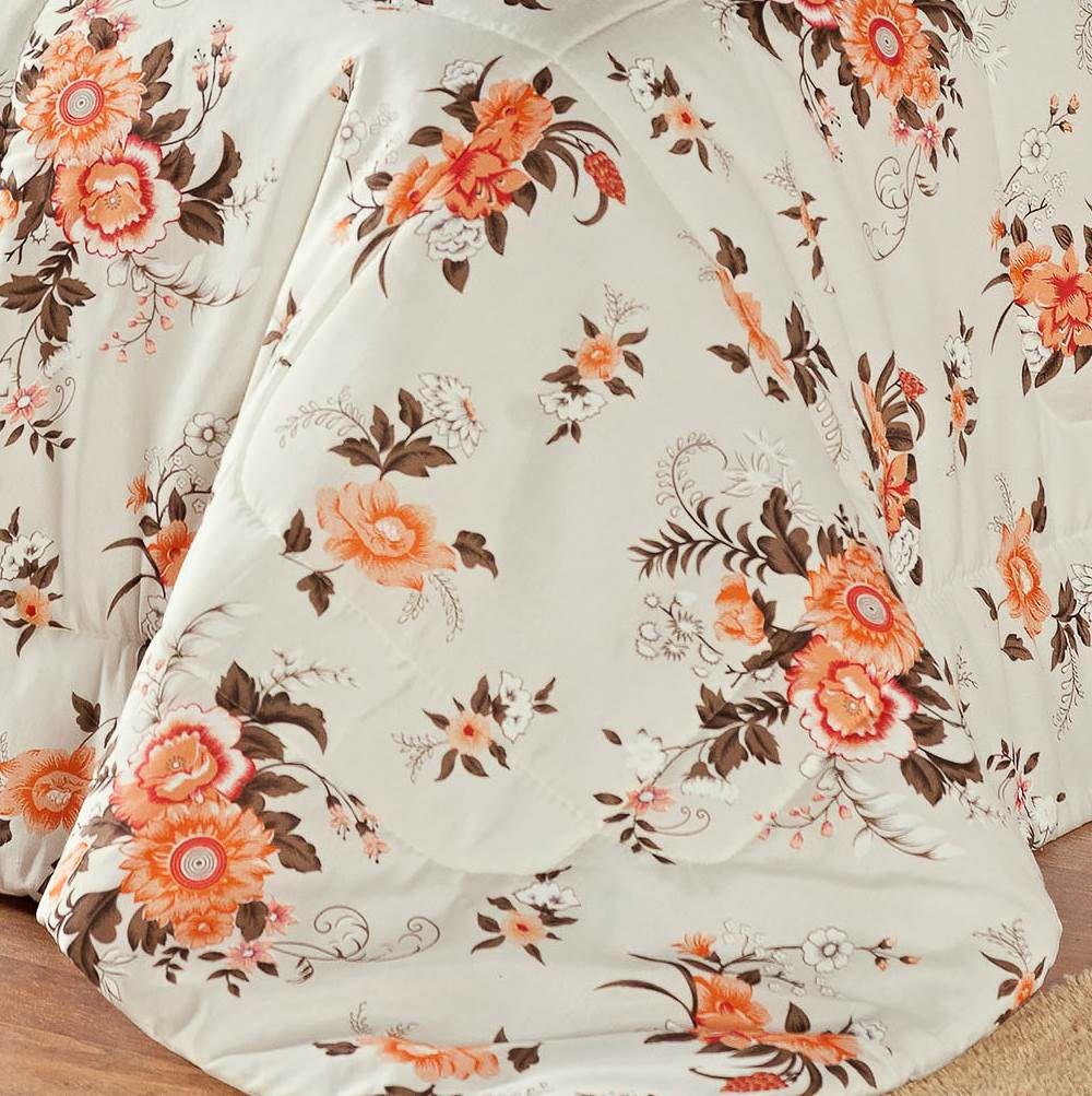 Edredom Solteiro Estampado Júlia 3 Peças - Floral Laranja