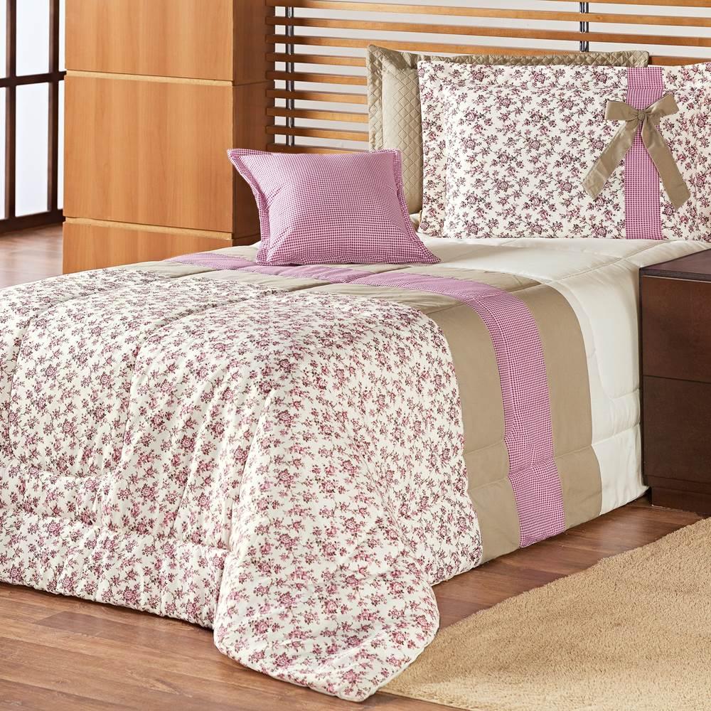 e711138513 Edredom Solteiro Estampado Júlia 3 Peças - Floral Rosê - Casa Modelo ...