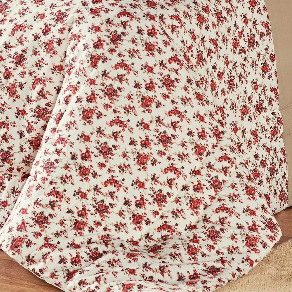 Edredom Solteiro Estampado Júlia 3 Peças - Floral Vermelho