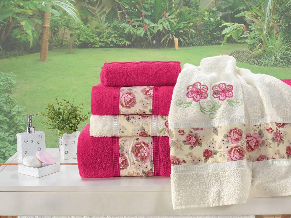 Jogo de Banho Bordado Floral Algodão 5 Peças - Pink