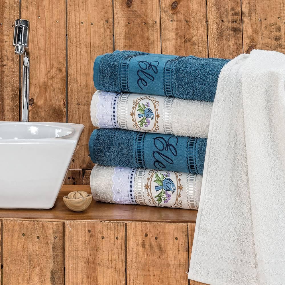 Jogo de Banho Bordado Ponto Russo Algodão 5 Peças - Palha/Azul