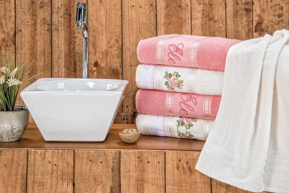 Jogo de Banho Bordado Ponto Russo Algodão 5 Peças - Palha/Rosa