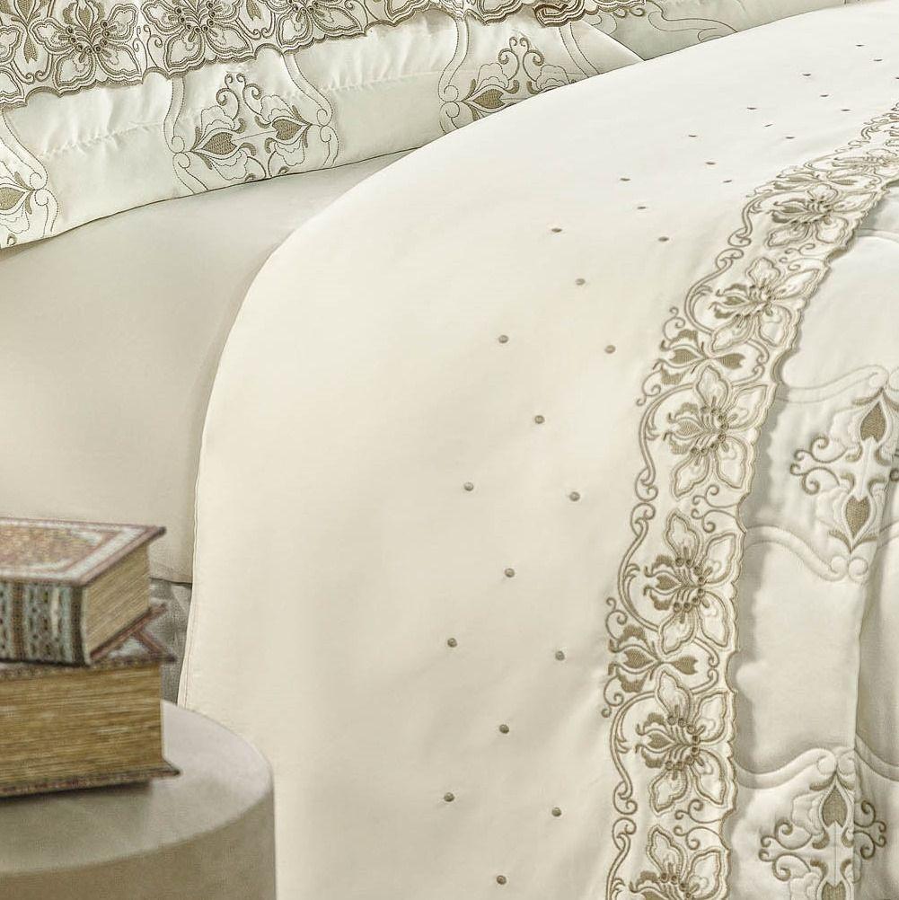 Jogo de Cama King Size Bordado Algodão 400 fios Versalles Palha