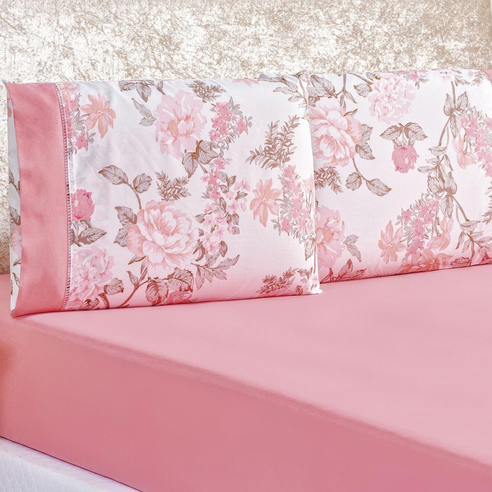 Jogo de Lençol Casal 200 Fios 3 peças Naturalle - Serene Rosa